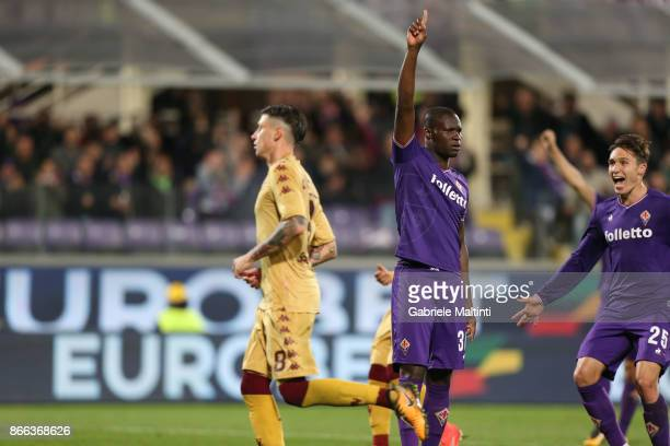 Khouma Babacar of ACF Fiorentina celebrates after scoring a goal during the Serie A match between ACF Fiorentina and Torino FC at Stadio Artemio...