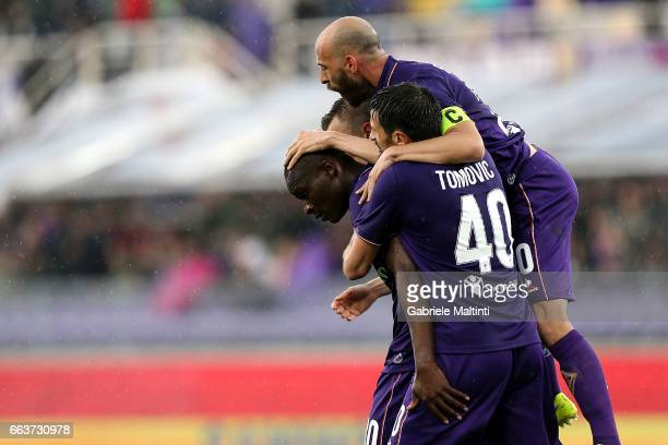 Khouma Babacar of ACF Fiorentina celebrates with team mates after scoring a goal during the Serie A match between ACF Fiorentina and Bologna FC at...