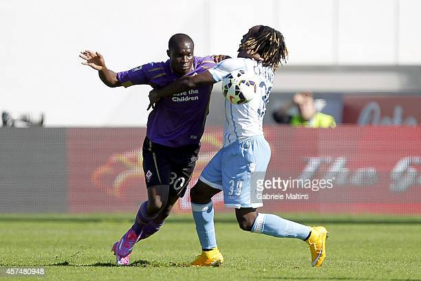 Khouma Babacar of ACF Fiorentina fights for the ball with Luis Pedro Cavanda of SS Lazio during the Serie A match between ACF Fiorentina and SS Lazio...
