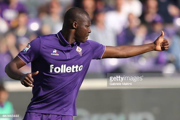 Khouma Babacar of ACF Fiorentina gestures during the Serie A match between ACF Fiorentina and SS Lazio at Stadio Artemio Franchi on May 13 2017 in...