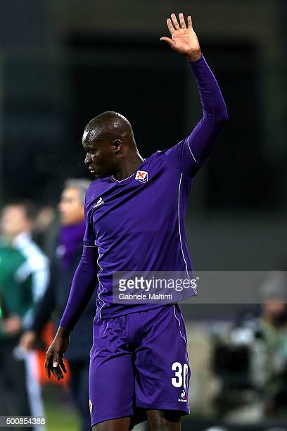 Khouma Babacar of ACF Fiorentina gestures during the UEFA Europa League match between ACF Fiorentina and Os Belenenses on December 10 2015 in...