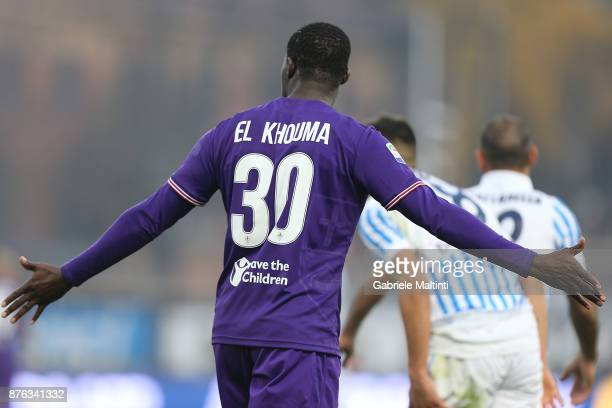 Khouma Babacar of ACF Fiorentina in action during the Serie A match between Spal and ACF Fiorentina at Stadio Paolo Mazza on November 19 2017 in...