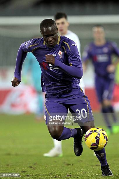 Khouma Babacar of ACF Fiorentina in action during the TIM Cup match between ACF Fiorentina and Atalanta BC at Artemio Franchi on January 21 2015 in...