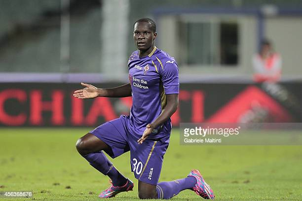 Khouma Babacar of ACF Fiorentina reacts during the Serie A match between ACF Fiorentina and US Sassuolo Calcio at Stadio Artemio Franchi on September...