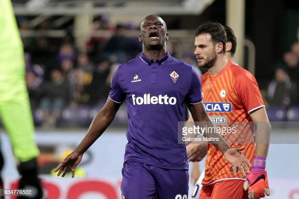 Khouma Babacar of ACF Fiorentina reacts during the Serie A match between ACF Fiorentina and Udinese Calcio at Stadio Artemio Franchi on February 11...