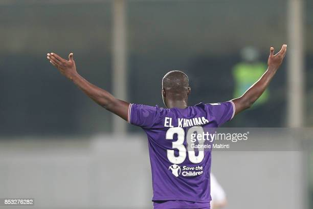 Khouma Babacar of ACF Fiorentina reacts during the Serie A match between FC Crotone and Benevento Calcio at Stadio Artemio Franchi on September 24...