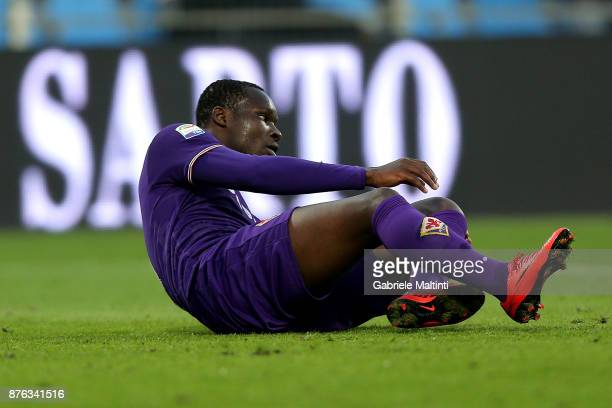Khouma Babacar of ACF Fiorentina reacts during the Serie A match between Spal and ACF Fiorentina at Stadio Paolo Mazza on November 19 2017 in Ferrara...