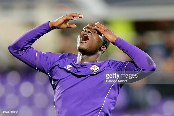 Khouma Babacar of ACF Fiorentina reacts during the UEFA Europa League group I match between ACF Fiorentina and KKS Lech Poznan on October 22 2015 in...