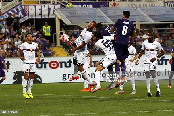 Khouma Babacar of ACF Fiorentina scores the opening goal during the Serie A match between ACF Fiorentina and Genoa CFC at Stadio Artemio Franchi on...