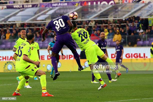 Khouma Babacar of ACF Fiorentina scores the opening goal during the Serie A match between ACF Fiorentina and Bologna FC at Stadio Artemio Franchi on...