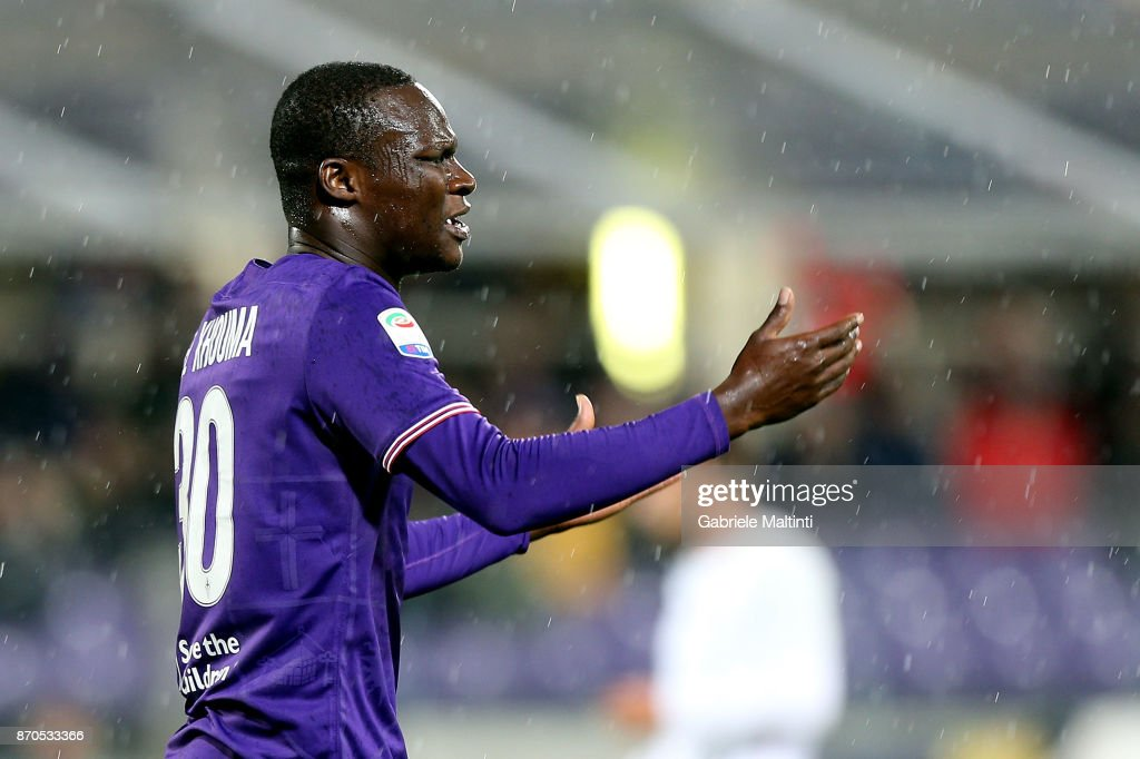 Khouma Babacar of ACF Fiorentina shows his dejection during the Serie A match between ACF Fiorentina and AS Roma at Stadio Artemio Franchi on November 5, 2017 in Florence, Italy.
