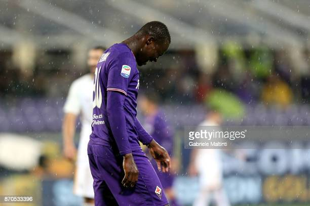 Khouma Babacar of ACF Fiorentina shows his dejection during the Serie A match between ACF Fiorentina and AS Roma at Stadio Artemio Franchi on...