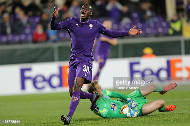 Khouma Babacar of ACF Fiorentina shows his dejection during the UEFA Europa League group I match between ACF Fiorentina and KKS Lech Poznan on...