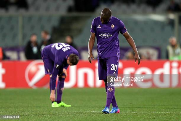 Khouma Babacar of ACF Fiorentina shows his dejection during the UEFA Europa League Round of 32 second leg match between ACF Fiorentina and Borussia...