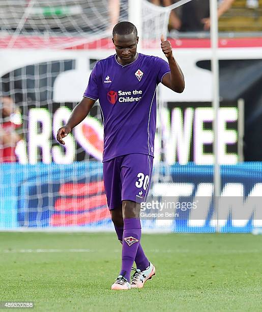 Khouma Babacar of Fiorentina celebrates after scoring the opening goal during the Serie A match between Carpi FC and ACF Fiorentina at Alberto...