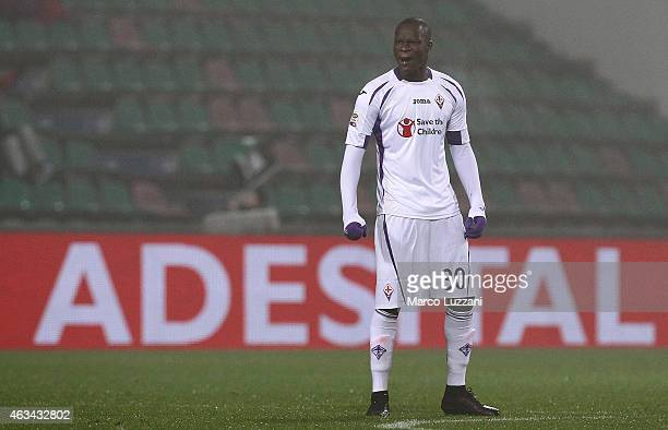 Khouma El Babacar of ACF Fiorentina celebrates his second goal during the Serie A match between US Sassuolo Calcio and ACF Fiorentina on February 14...