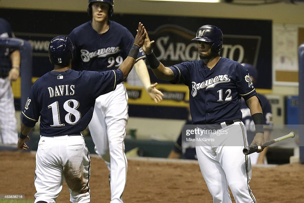 <a gi-track='captionPersonalityLinkClicked' href=/galleries/search?phrase=Khris+Davis+-+Baseball+Player&family=editorial&specificpeople=7890487 ng-click='$event.stopPropagation()'>Khris Davis</a> #17 of the Milwaukee Brewers celebrates with Martin Maldonado #12 after reaching on a RBI single hit by Rickie Weeks in the bottom of the fifth inning against the Toronto Blue Jays during the Interleague game at Miller Park on August 19, 2014 in Milwaukee, Wisconsin.