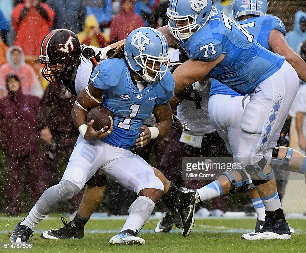 Khris Francis of the North Carolina Tar Heels runs against the Virginia Tech Hokies at Kenan Stadium on October 8 2016 in Chapel Hill North Carolina