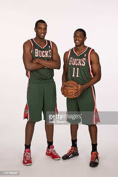 Khris Middleton and Brandon Knight of the Milwaukee Bucks pose for a portrait following a press conference introducing them to local media on August...