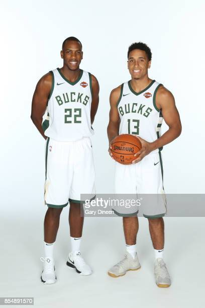 Khris Middleton and Malcolm Brogdon of the Milwaukee Bucks poses for a portrait during the 201718 NBA Media Day on September 25 2017 at the BMO...