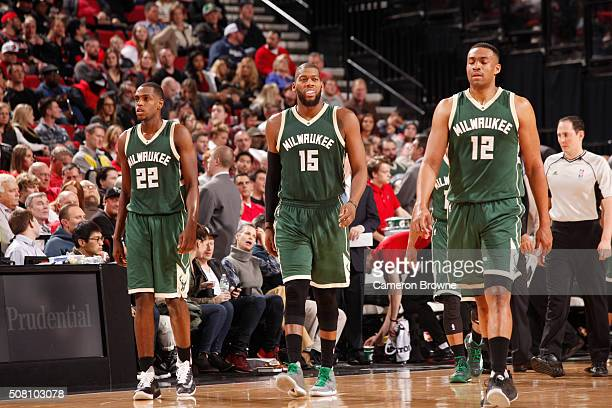 Khris Middleton Greg Monroe and Jabari Parker of the Milwaukee Bucks during the game against the Portland Trail Blazers on February 2 2016 at Moda...