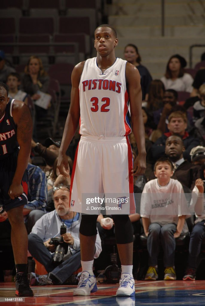 <a gi-track='captionPersonalityLinkClicked' href=/galleries/search?phrase=Khris+Middleton&family=editorial&specificpeople=6689629 ng-click='$event.stopPropagation()'>Khris Middleton</a> #32 of the Detroit Pistons looks on vs the Atlanta Hawks during the pre-season game on October 26, 2012 at The Palace of Auburn Hills in Auburn Hills, Michigan.