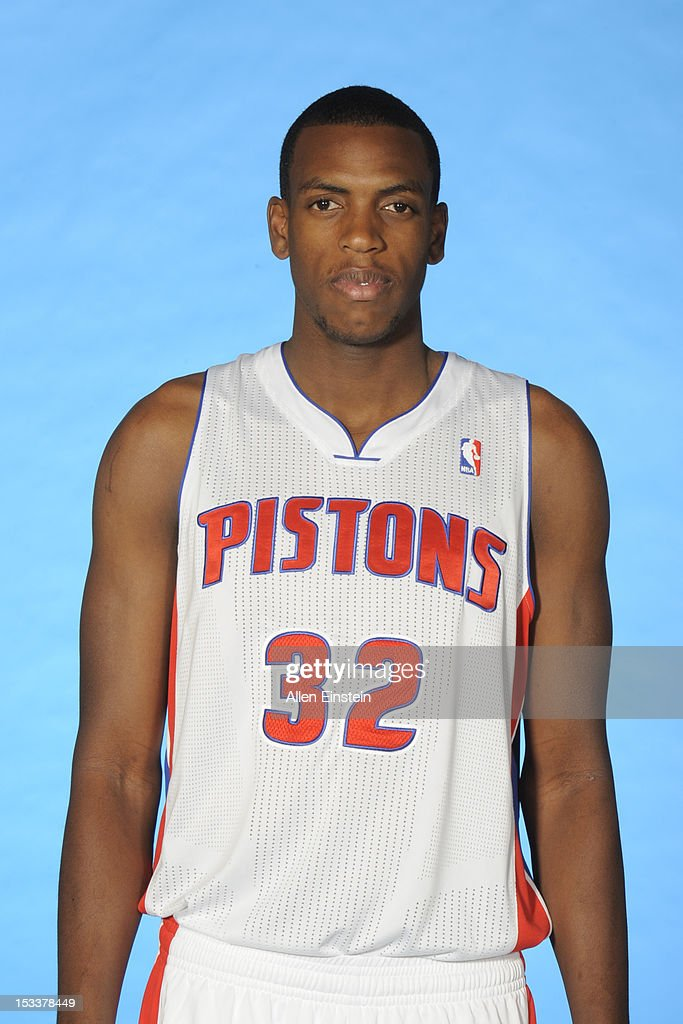 Khris Middleton #32 of the Detroit Pistons poses during media day on October 1, 2012 at The Palace of Auburn Hills in Auburn Hills, Michigan.