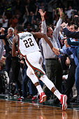 Khris Middleton of the Milwaukee Bucks after hitting the game winning shot against the Miami Heat on March 24 2015 at BMO Harris Bradley Center in...