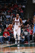 Khris Middleton of the Milwaukee Bucks brings the ball up court against the Orlando Magic on April 4 2015 at the BMO Harris Bradley Center in...