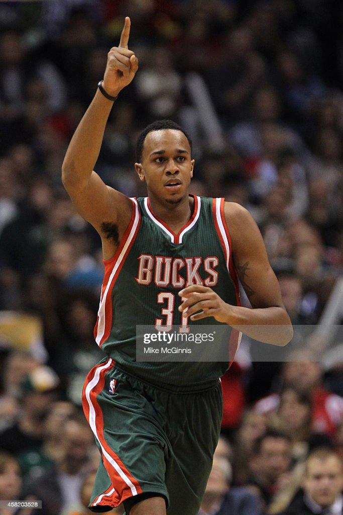 Khris Middleton #22 of the Milwaukee Bucks celebrates after scoring two pints during the first half against the Philadelphia 76ers against the Milwaukee Bucks at BMO Harris Bradley Center on October 31, 2014 in Milwaukee, Wisconsin.