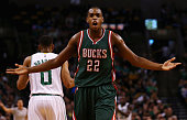 Khris Middleton of the Milwaukee Bucks disputes a call during the first quarter against the Milwaukee Bucks at TD Garden on April 3 2015 in Boston...