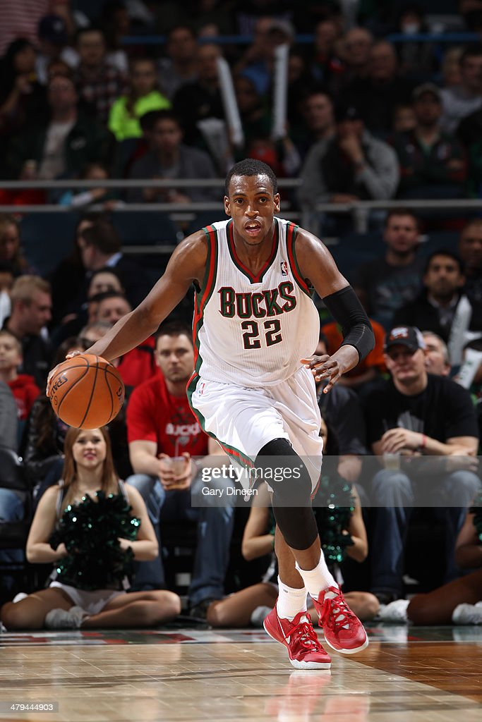 <a gi-track='captionPersonalityLinkClicked' href=/galleries/search?phrase=Khris+Middleton&family=editorial&specificpeople=6689629 ng-click='$event.stopPropagation()'>Khris Middleton</a> #22 of the Milwaukee Bucks dribbles the ball against the Charlotte Bobcats on March 16, 2014 at the BMO Harris Bradley Center in Milwaukee, Wisconsin.