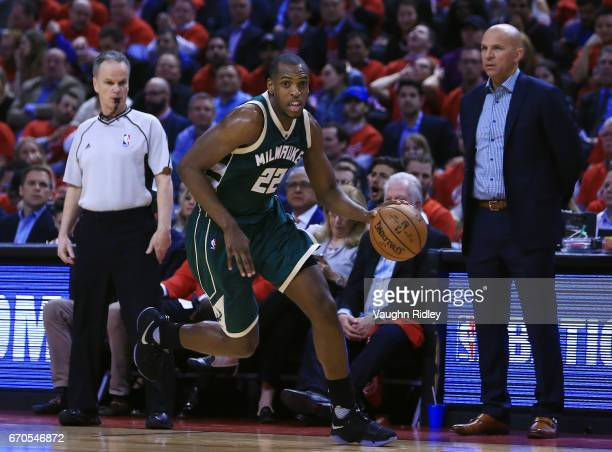 Khris Middleton of the Milwaukee Bucks dribbles the ball in the first half of Game Two of the Eastern Conference Quarterfinals against the Toronto...