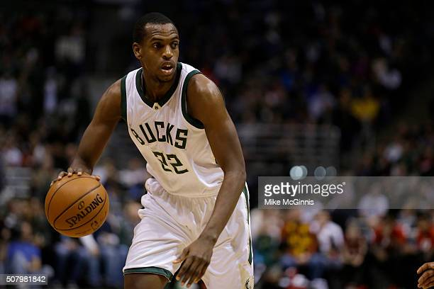 Khris Middleton of the Milwaukee Bucks dribbles the basketball during the game against the Miami Heat at BMO Harris Bradley Center on January 29 2016...