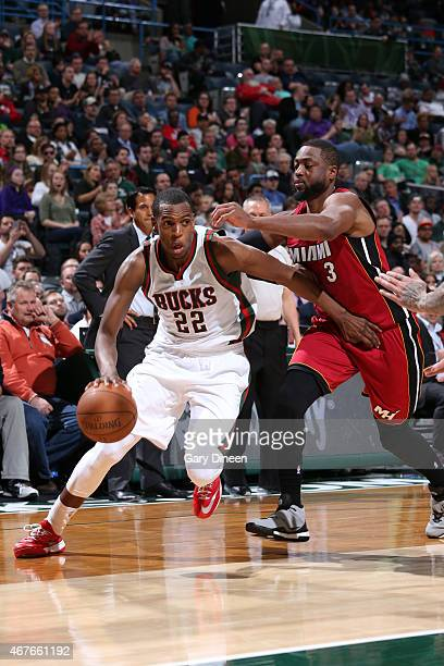 Khris Middleton of the Milwaukee Bucks drives against the Miami Heat on March 24 2015 at BMO Harris Bradley Center in Milwaukee Wisconsin NOTE TO...