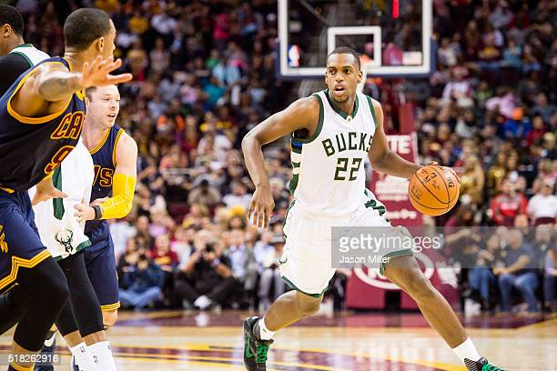 Khris Middleton of the Milwaukee Bucks drives during the first half against the Cleveland Cavaliers at Quicken Loans Arena on March 23 2016 in...