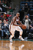 Khris Middleton of the Milwaukee Bucks drives to the basket against the Los Angeles Lakers during the game on February 4 2015 at BMO Harris Bradley...