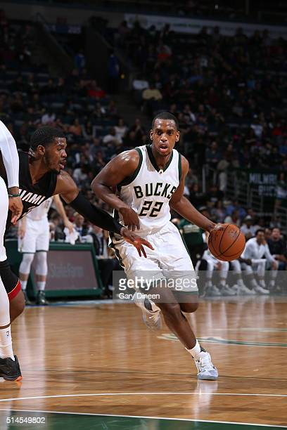 Khris Middleton of the Milwaukee Bucks drives to the basket against the Miami Heat during the game on March 9 2016 at BMO Harris Bradley Center in...
