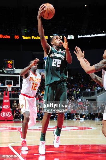 Khris Middleton of the Milwaukee Bucks drives to the basket against the Atlanta Hawks on October 29 2017 at Philips Arena in Atlanta Georgia NOTE TO...