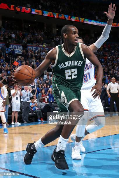 Khris Middleton of the Milwaukee Bucks drives to the basket during the game against the Oklahoma City Thunder on April 4 2017 at Chesapeake Energy...