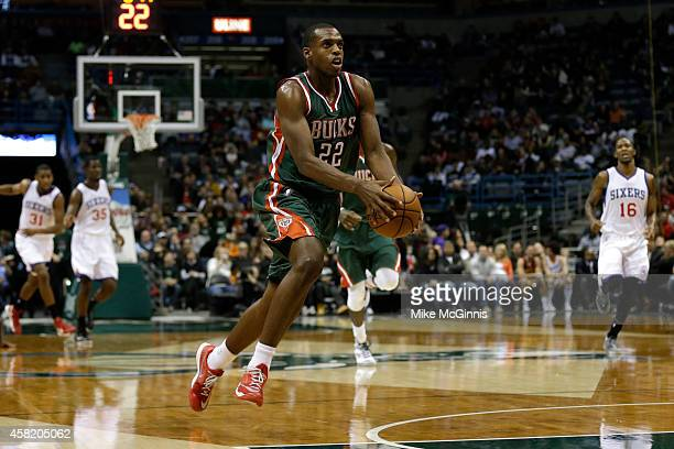 Khris Middleton of the Milwaukee Bucks drives to the hoop on a fast break during the second half of play against the Philadelphia 76ers at BMO Harris...