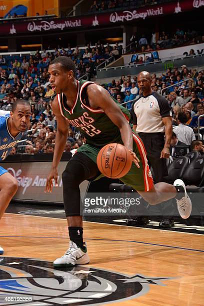 Khris Middleton of the Milwaukee Bucks driving during a game against the Orlando Magic on January 31 2014 at Amway Center in Orlando Florida NOTE TO...