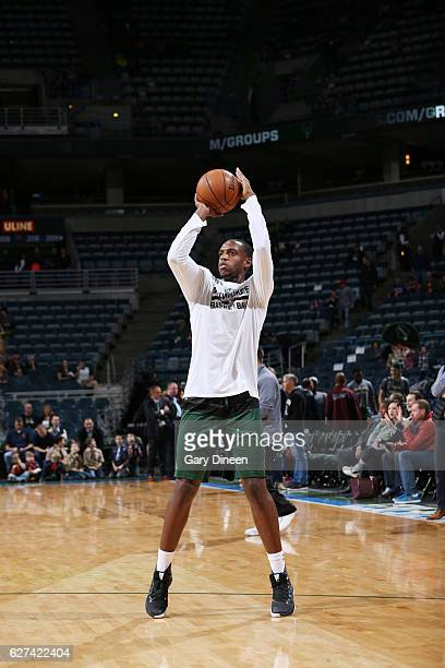 Khris Middleton of the Milwaukee Bucks gets introduced before the game against the Brooklyn Nets on December 3 2016 at the BMO Harris Bradley Center...