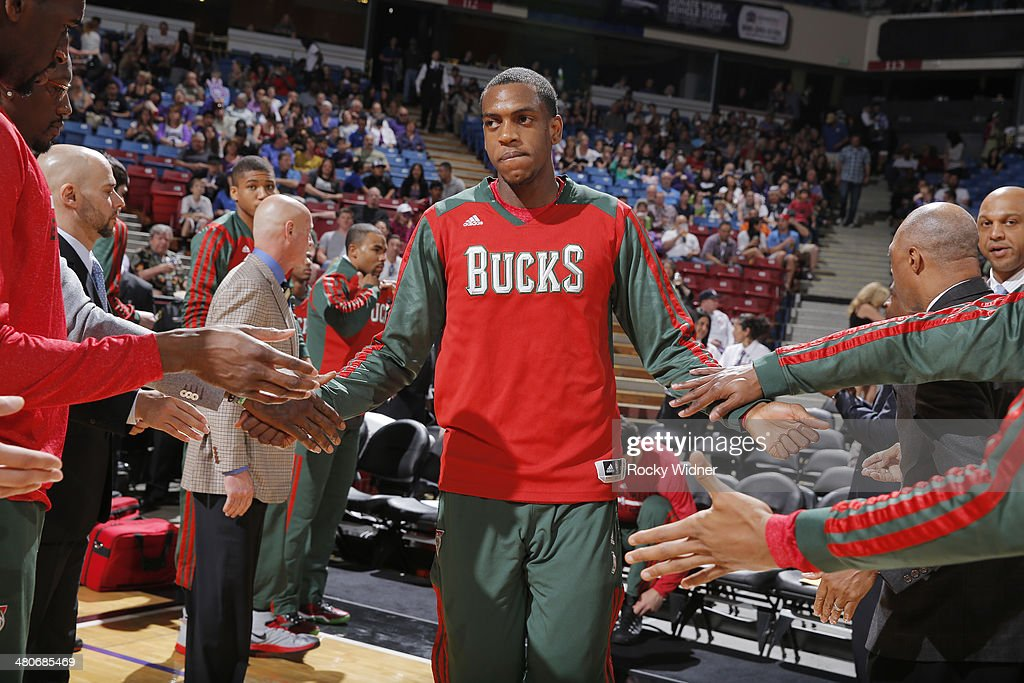 <a gi-track='captionPersonalityLinkClicked' href=/galleries/search?phrase=Khris+Middleton&family=editorial&specificpeople=6689629 ng-click='$event.stopPropagation()'>Khris Middleton</a> #22 of the Milwaukee Bucks gets introduced into the starting lineup against the Sacramento Kings on March 23, 2014 at Sleep Train Arena in Sacramento, California.