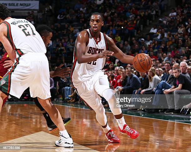 Khris Middleton of the Milwaukee Bucks handles the ball against the Cleveland Cavaliers on March 22 2015 at BMO Harris Bradley Center in Milwaukee...