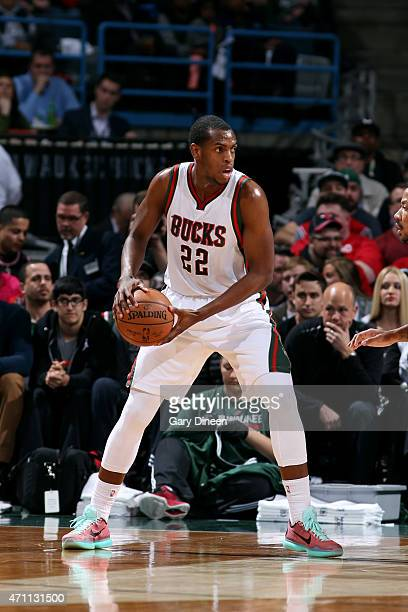 Khris Middleton of the Milwaukee Bucks handles the ball against the Chicago Bulls in Game Four of the Eastern Conference Quarterfinals during the...