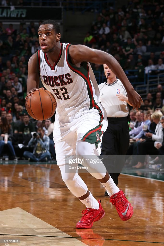 Khris Middleton of the Milwaukee Bucks handles the ball against the Chicago Bulls in Game Six of the Eastern Conference Quarterfinals of the 2015 NBA...