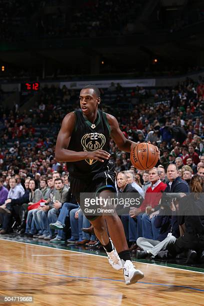 Khris Middleton of the Milwaukee Bucks handles the ball against the Chicago Bulls on December 12 2016 at the BMO Harris Bradley Center in Milwaukee...