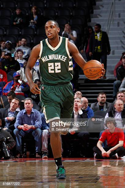 Khris Middleton of the Milwaukee Bucks handles the ball against the Detroit Pistons on March 21 2016 at The Palace of Auburn Hills in Auburn Hills...