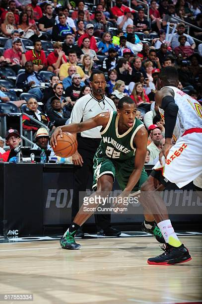 Khris Middleton of the Milwaukee Bucks handles the ball against the Atlanta Hawks on March 25 2016 at Philips Arena in Atlanta Georgia NOTE TO USER...